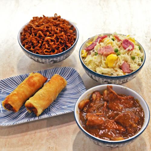 menu porc avec nem riz cantonais nouilles pad thai et porc au caramel