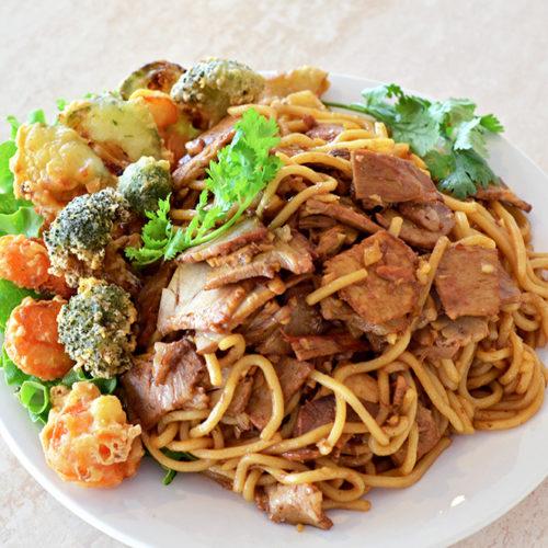 yakisoba porc laqué tempuras légumes