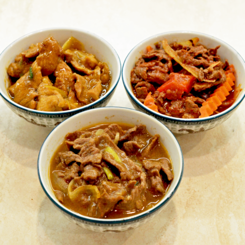 plat boeuf sate ou sauce piquante ou aux oignons